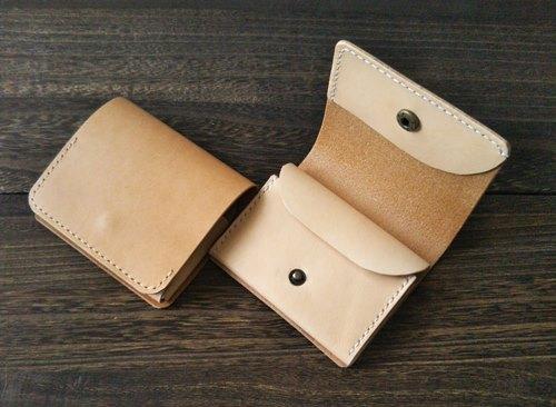ヌメ革で作ったミニ財布